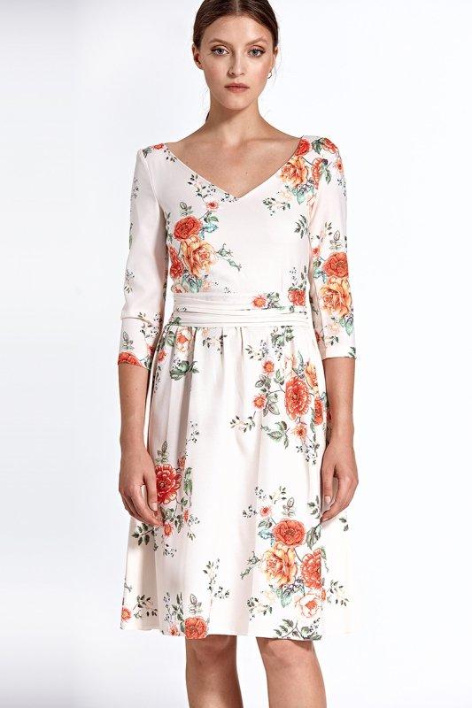 Wzorzysta sukienka z szerokim dekoltem - kwiaty/ecru - CS27