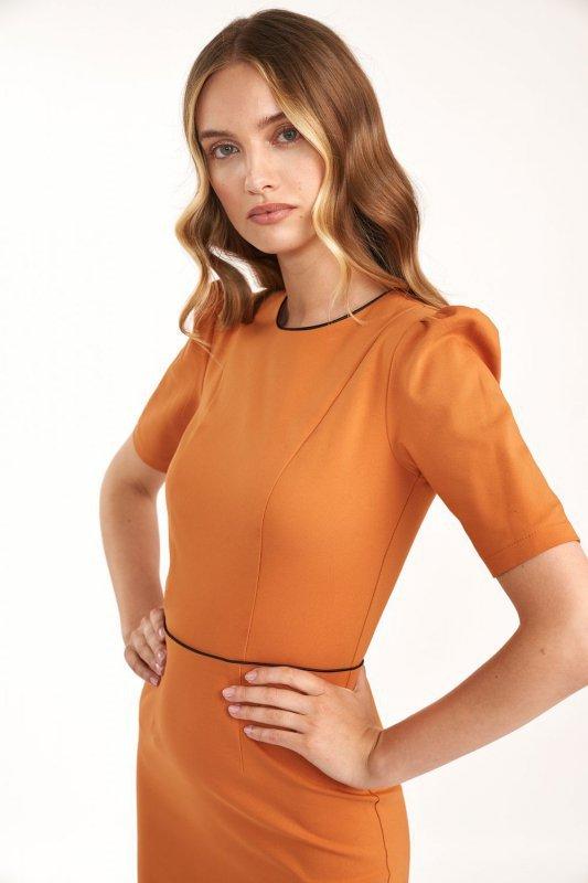 Klasyczna sukienka w kolorze pomarańczowym - S187