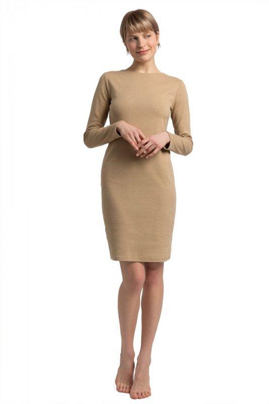LA060 Sukienka z wycięciem na plecach - cappuccino