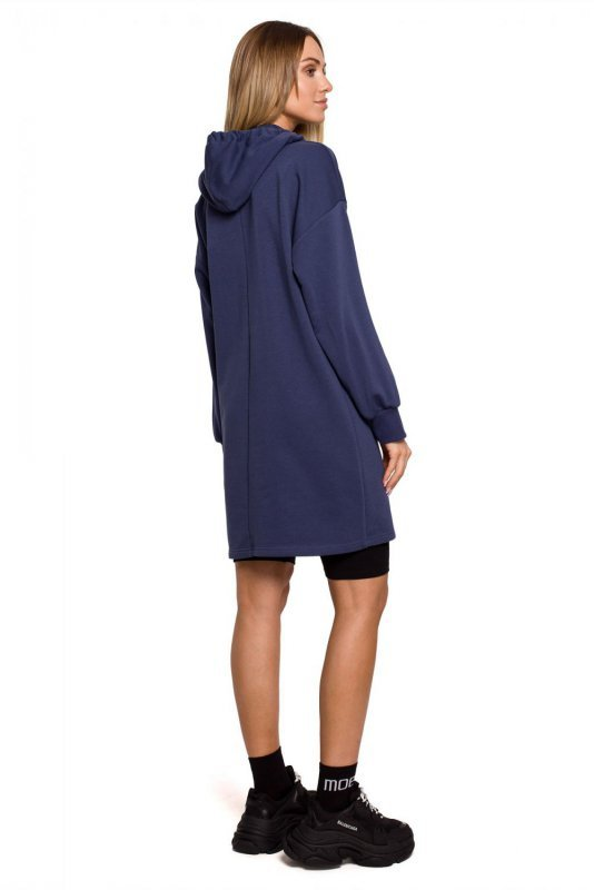 M615 Sukienka z golfem i kapturem - niebieska