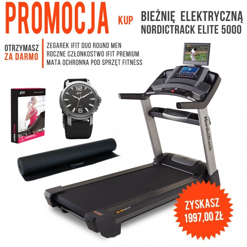 Bieżnia Elektryczna Elite 5000 + członkostwo + mata + zegarek