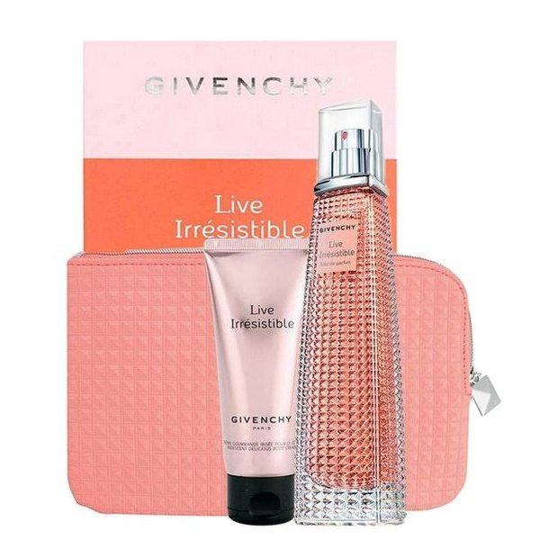 Givenchy Live Irresistible Set - Eau de Parfum 75 ml + Body Lotion 75 ml + Pouch