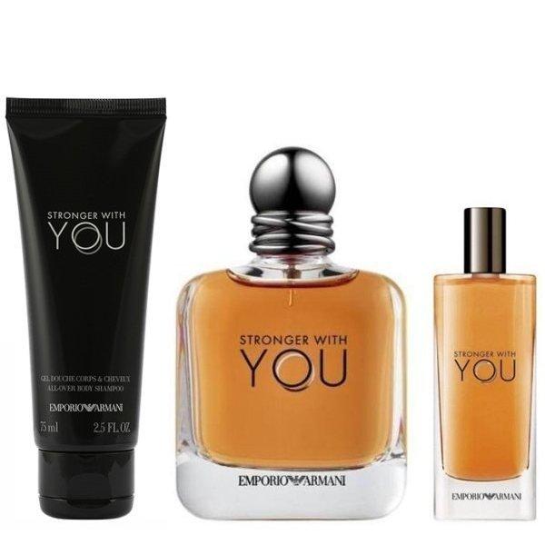 Emporio Armani Stronger With You Set - Eau de Toilette 100 ml + mini Eau de Toilette 15 ml + Shower gel 75 ml