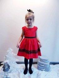 Wizytowa elegancka czerwona sukienka dla dziewczynki 110 - 152