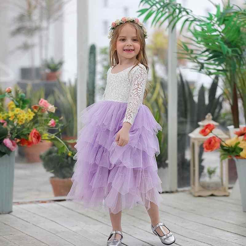 Sukienka Boho Wróżka z rękawkiem fioletowa