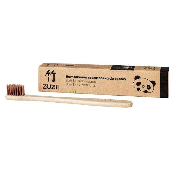 ZUZII Bambusowa szczoteczka do zębów dla dzieci, brązowa