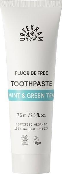 Urtekram Pasta do zębów z miętą i zieloną herbatą BEZ FLUORU 75 ml