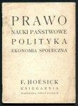 Ferdynand Hoesick. Księgarnia. Katalog: Prawo, Nauki państwowe, polityka, ekonomia społeczna