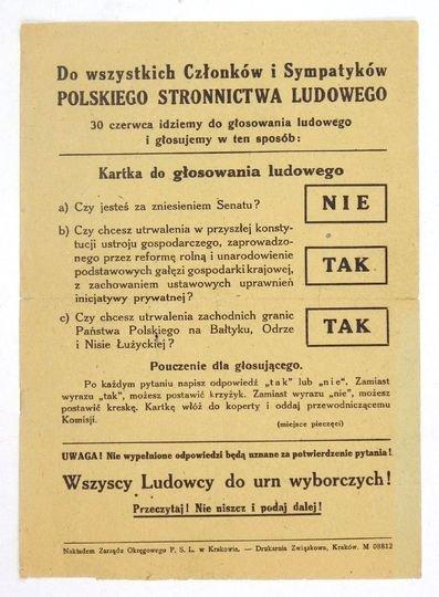 DO WSZYSTKICHCzłonków i Sympatyków Polskiego Stronnictwa Ludowego. 30 czerwca idziemy do głosowania ludowego i głosujemy w ten sposób: Kartka do głosowania ludowego. a) Czy jesteś za zniesieniem Senatu! Nie. b) Czy chcesz utrwalenia [...]