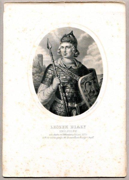 Leszek Biały - Król Polski - litografia. [Rys. Aleksander Lesser. Litografował H.Aschenbrenner]