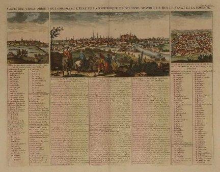 [KRAKÓW, WARSZAWA, WILNO]. Carte des trois ordres qui composent l'Etat de la Republique de Pologne, sçavoir le Roi, le senant et la noblesse.