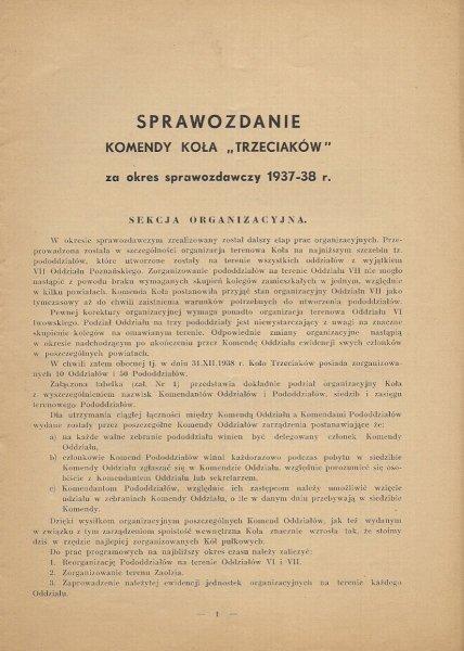 SPRAWOZDANIE Komendy Koła Trzeciaków za okres sprawozdawczy 1937-38 r. [Warszawa 1938]. Gł. Druk. Wojsk.