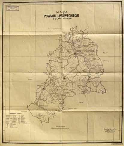 ŚLĄSK. Mapa powiatu lwóweckiego, Dolny Śląsk.