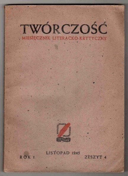 Twórczość. Miesięcznik literacko-krytyczny. R.1, z.4, listopad 1945 [Adam Mickiewicz]