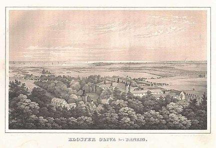 [GDAŃSK]. Kloster Oliva bei Danzig. Litografia tonowana 12x19,8 cm.