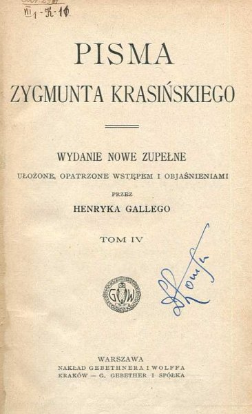 Krasiński Zygmunt - Pisma. Wydanie nowe zupełne ... t.4.