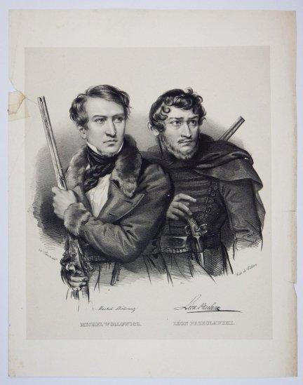 [POWSTANIE LISTOPADOWE] Michel Wollowicz, Leon Przeclawski - portret - litografia [1832]
