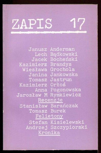 Zapis: poezja, proza, eseje, kronika. [R. 5], nr 17: I 1981.