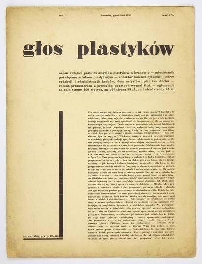 Głos Plastyków. R. 1, zesz. 5: XII 1930.