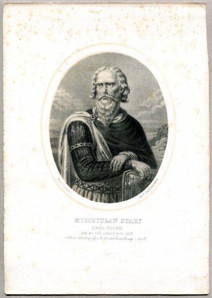 Mieczysław Stary - Król Polski - litografia. [Rys. Aleksander Lesser. Litografował H.Aschenbrenner]