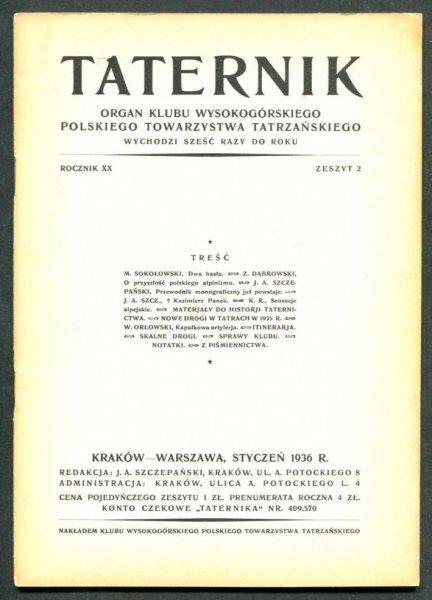 Taternik. Organ Klubu Wysokogórskiego Polskiego Towarzystwa Tatrzańskiego. R. 20: 1936, nr 2