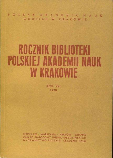 Rocznik Biblioteki PAN w Krakowie. R. 16: 1970