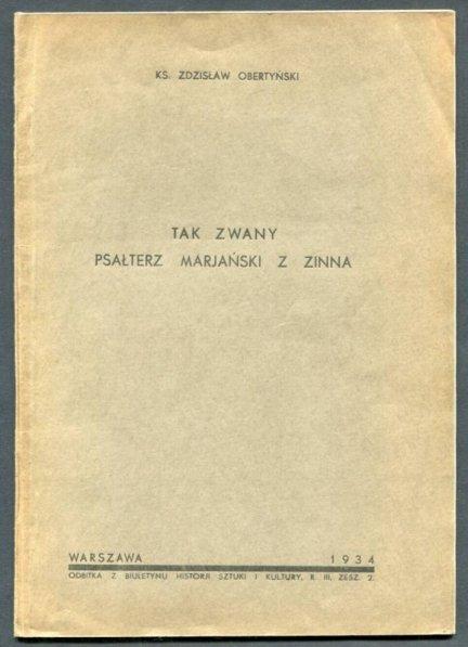 Obertyński Zdzisław - Tak zwany Psałterz Marjański z Zinna