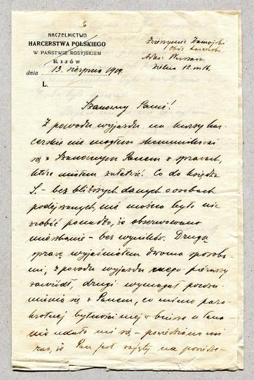[HARCERSTWO]. Odręczny list Stanisława Sedlaczka do nieznanego adresata, dat. 13 VIII 1919 w Zwierzyńcu Zamojskim