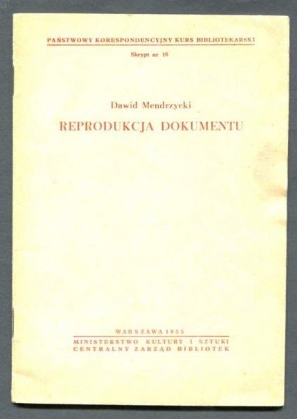 Mendrzycki Dawid - Reprodukcja dokumentu. 1955.