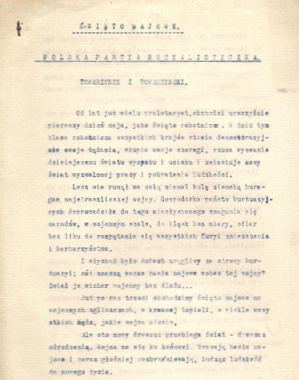 [POLSKA PARTIA SOCJALISTYCZNA]. Zbiór 10 dokumentów PPS z l. 1916-1917.