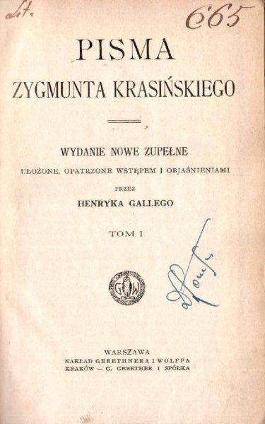 Krasiński Zygmunt - Pisma. Wydanie nowe zupełne ... t.1.