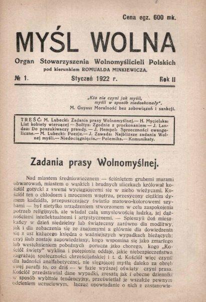 Myśl Wolna. Organ Stowarzyszenia Wolnomyślicieli Polskich pod kierunkiem Romualda Minkiewicza