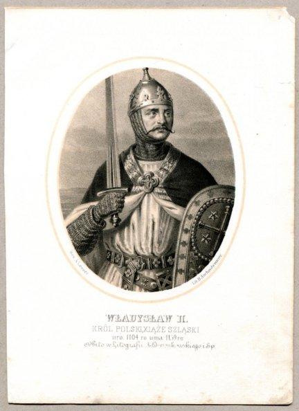 Władysław II. - Król Polski, Xiąże Szląski - litografia [Rys. Aleksander Lesser. Lit. H.Aschenbrenner]