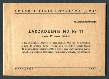 Zarządzenie ND nr 11 z dnia 29 marca 1963