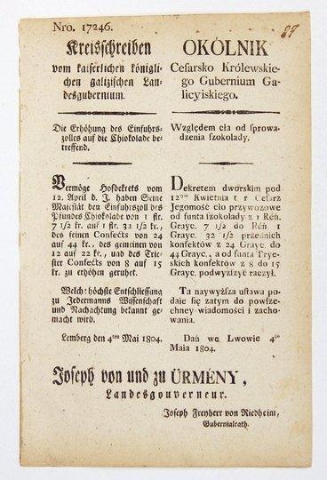 OKÓLNIKCesarsko Królewskiego Gubernium Galicyiskiego. Względem cła od sprowadzenia szokolady [...].