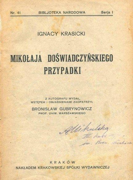 KRASICKI Ignacy - Mikołaja Doświadczyńskiego przypadki.