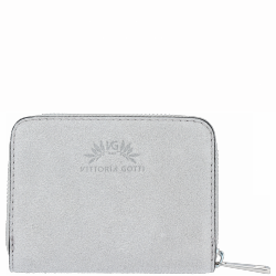 Portfel Skórzany VITTORIA GOTTI Made in Italy Jasno Szary