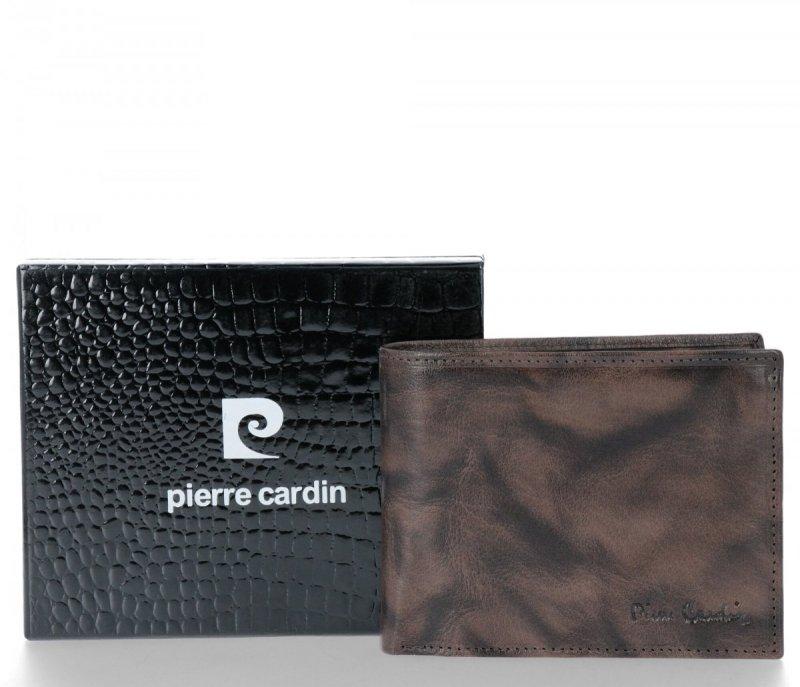 Klasyczny Skórzany Portfel Męski firmy PIERRE CARDIN Szary