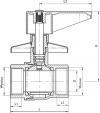 ARMATURA KRAKÓW - zawór wodny, podtynkowy, przepływowy, nakrętno-nakrętny 706-010-15