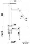 ARMATURA KRAKÓW - Bateria Umywalkowa sztorcowa wysoka CYRKON 582-612-00