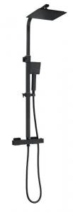 BW TECH - Zestaw natryskowy KOBE z baterią termostatyczną CZARNY MAT