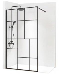 REA - Ścianka prysznicowa BLER-2 black/czarna 90