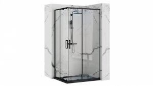 REA Kabina prostokątna narożna drzwi przesuwne 80x100 PUNTO BLACK/CZARNA