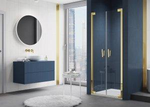 SANSWISS - Drzwi Prysznicowe CADURA CA2C wahadłowe dwuczęściowe Rozmiary 70-140 profil GOLD/ZŁOTY