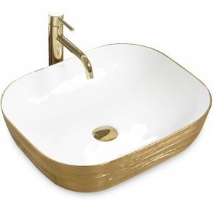 REA - Umywalka nablatowa FLORIA biało-złota white/gold
