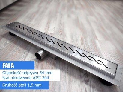 AQUALine - Odpływ liniowy FALA niski z metalowym syfonem