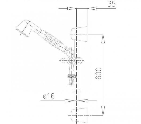 ARMATURA KRAKÓW - Zestaw natryskowy przesuwny RETRO 841-111-00