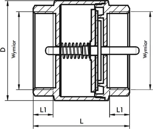 ARMATURA KRAKÓW - zawór zwrotny do wody z mosiężnym grzybkiem 710-010-50
