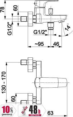 ARMATURA KRAKÓW - MOKAIT bateria wannowa 5534-010-00