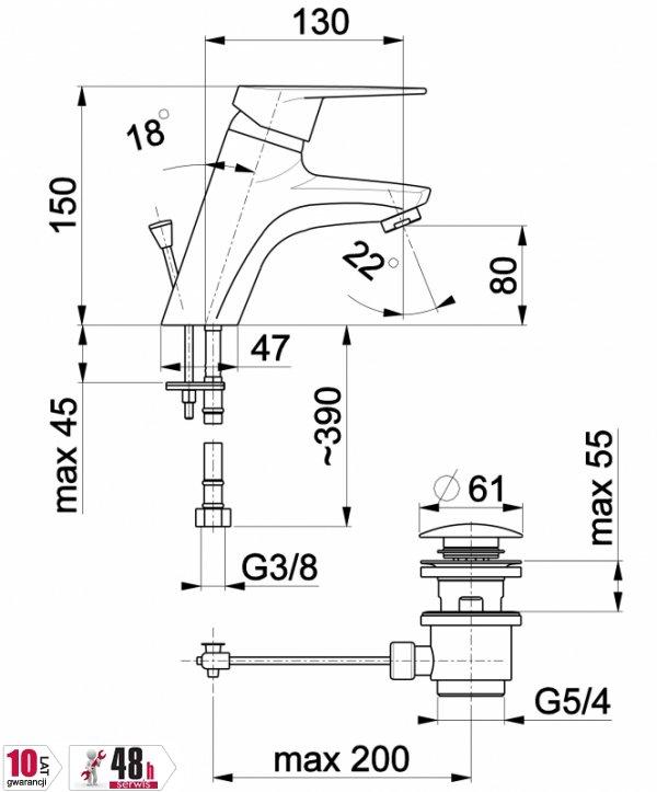 ARMATURA KRAKÓW - Topaz  Bateria umywalkowa stojąca 4012-815-00